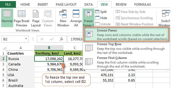 Cách cố định 1 vùng trong Excel