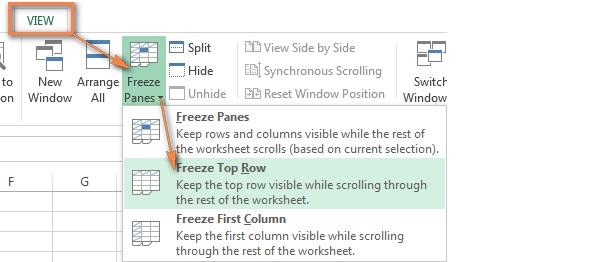 Cách cố định hàng trong Excel đối với hàng đầu tiên
