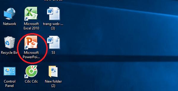 Nhấn đúp chuột vào biểu tượng powerpoint 2010 để mở chương trình