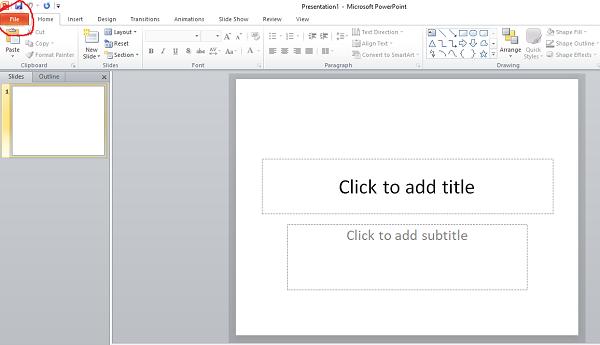 """Vào mục """"file"""" để thực hiện bỏ dấu gạch đỏ trong powerpoint 10"""