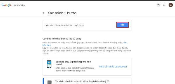 """Chọn """"Tắt"""" để tắt xác minh 2 bước gmail"""