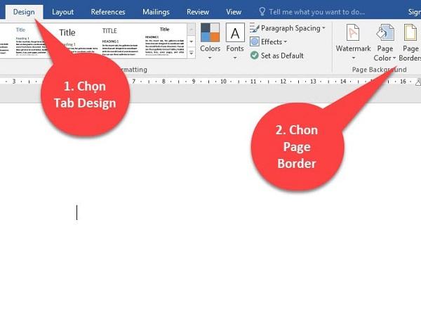"""Chọn tab """"Design"""" và click chuột vào """"Page Border"""""""