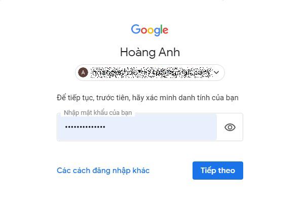Đăng nhập vào tài khoản Gmail của bạn