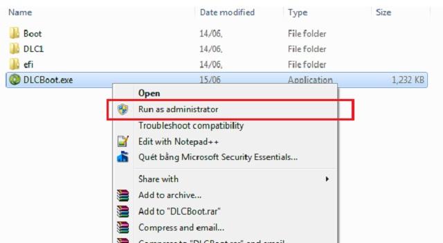 Mở file DLC Boot để chạy