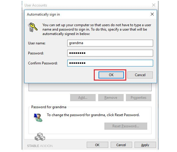 Nhấn OK để xác nhận tắt mật khẩu