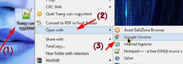 Bạn click chuột phải vào file rồi chọn Open with và mở theo trình duyệt bạn dùng