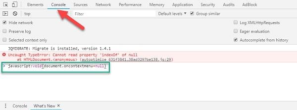 Bạn nhập code gợi ý vào khoảng trống dưới mục Console