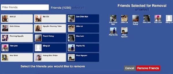 """Bước 3: Nếu đồng ý xóa thì bạn nhấn vào """"Remove Friends"""""""