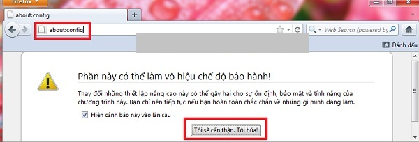 Nhập chọn About:config