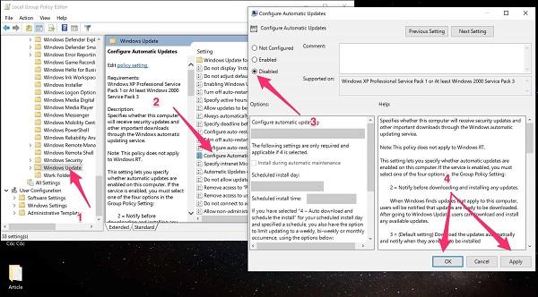 Thực hiện các tùy chọn để tắt windows update win 10 vĩnh viễn
