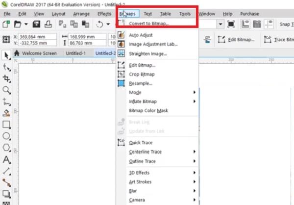Tại giao diện bạn click vào Bitmaps và chọn Convert to Bitmap